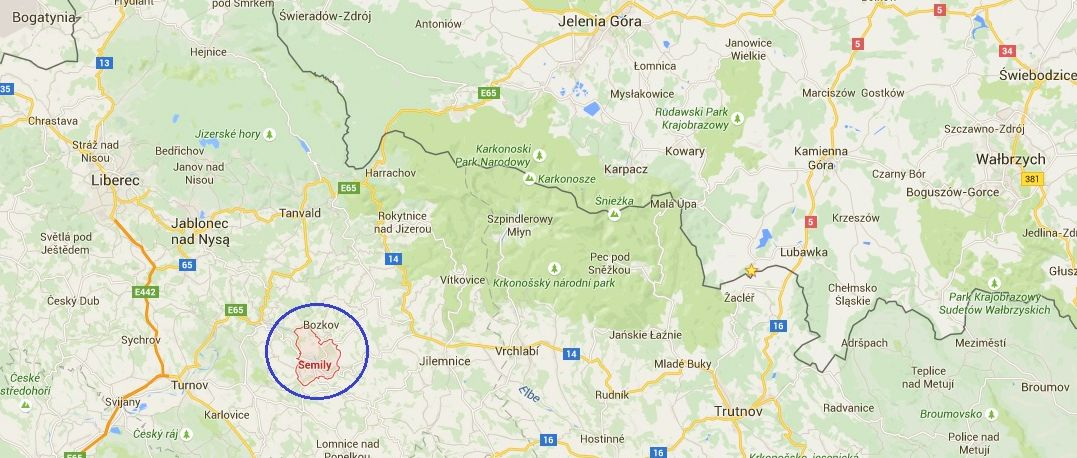 mapa Semily