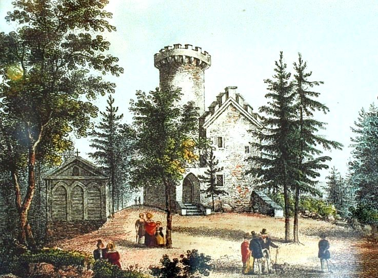 Zamek księcia Henryka na wzgórzu Grodna, litografia barwna E.W. Knippel (reprodukcja z wystawy w pałacu w Łomnicy)