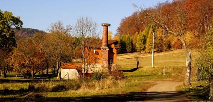 Ocalały komin starego młyna w Miszkowicach. Co na to bociany?